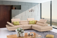 Alanzo Italian Leather Sectional in Peanut