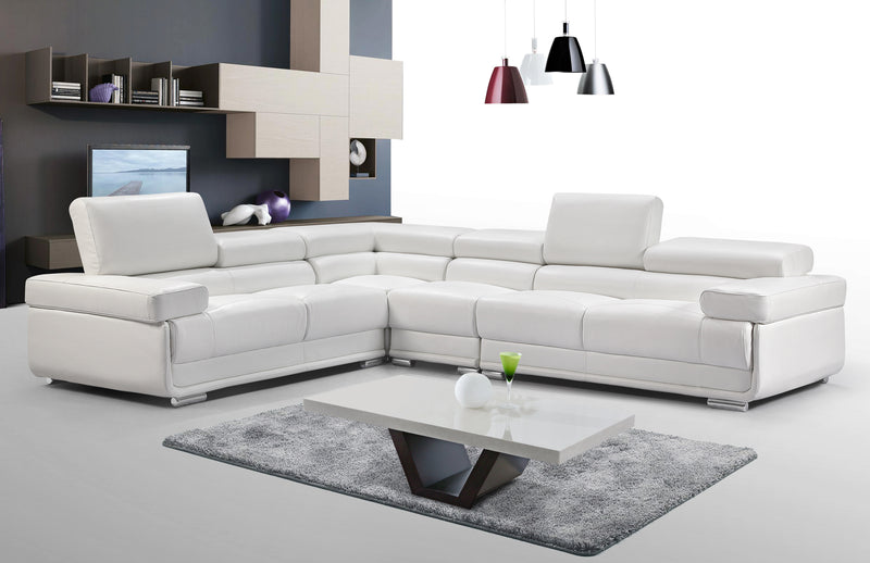 Turin White Leather Sectional