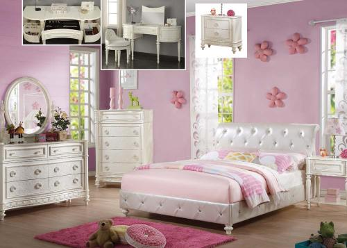 Jessica Pearl Youth Bedroom Group - 6pc Set: Twin Upholstery Bed, Dresser, Mirror, N Stand
