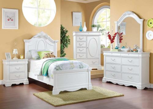 Erica White Youth Bedroom Group - 6pc Set: Twin Bed, Dresser & Mirror, N Stand
