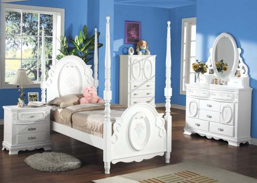 Della Post  Youth Bedroom Group - 6pc Set: Twin Bed, Dresser and Mirror, N. Stand