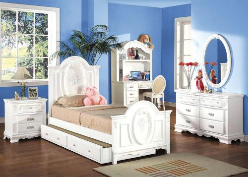 Della Panel  Youth Bedroom Group - 6pc Set: Twin Bed, Dresser & Mirror, N Stand