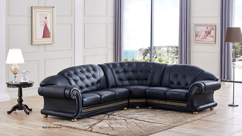 Casablanca Black Leather Sectional