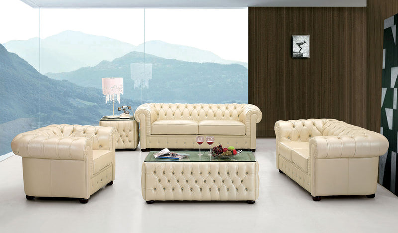 Celeste Full Leather Ivory Living Room Group (Sofa)