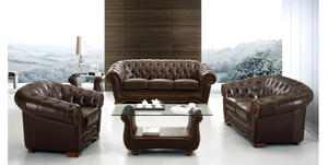 Burgos Full Leather Living Room - 2pc Set: Sofa and Loveseat
