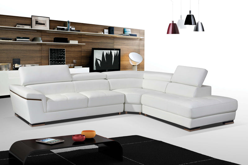 Nevada White Leather Sectional