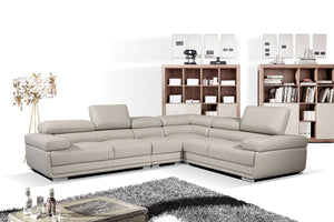 Turin Pale Grey Leather Sectional