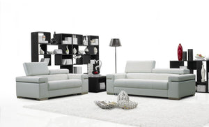 Ferelli Premium 100% Leather Living Room Group in White (Sofa)