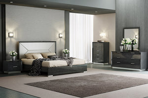 Genova Bedroom Collection - 5pc Queen Bed, Single Dresser and Mirror