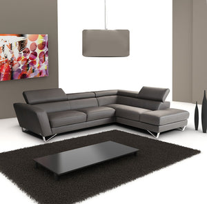 Ellio Italian Leather Sectional Dark Grey