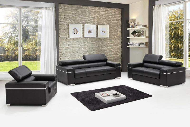 Ferelli Premium 100% Leather Living Room Group in Black (Sofa)