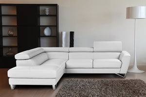 Ellio Italian Leather Sectional White