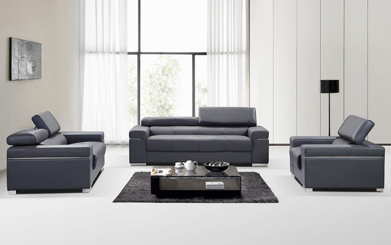 Ferelli Premium 100% Leather Living Room Group in Grey (Sofa)