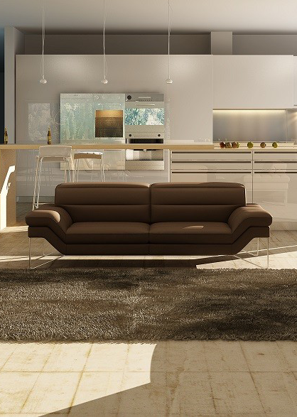 Charlize Leather Chocolate Living Room Group (Sofa)