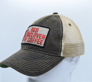 Legacy Trucker Hat: Embroidered Patch - Red Clover Coffee