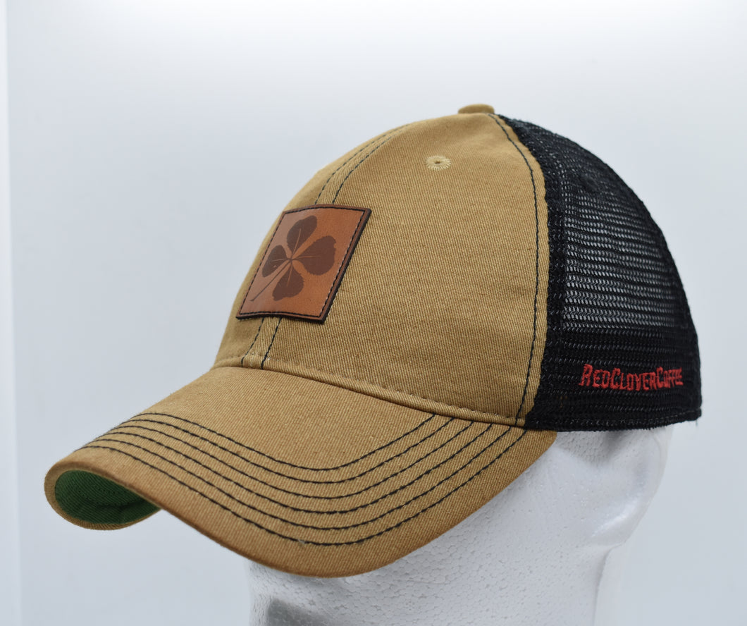 Legacy Trucker Hat: Leather Patch - Red Clover Coffee