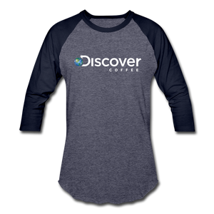 Discover Coffee Baseball Tee - heather blue/navy