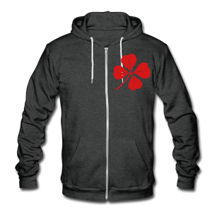 Red Clover Fleece Zip Hoodie - charcoal gray