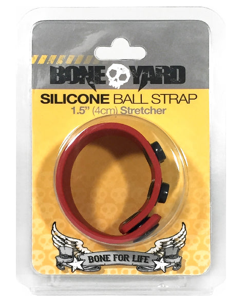 Boneyard 1.5inch Silicone Ball Strap - 3 Snap - Red