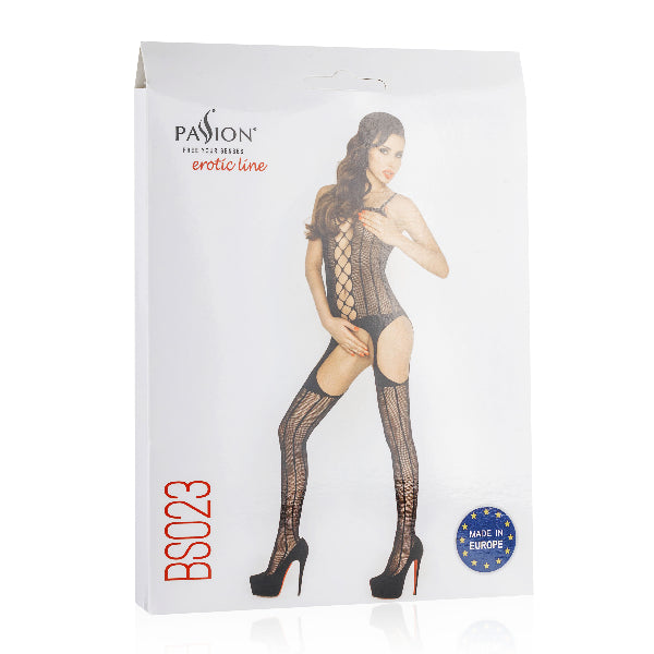 Bodystocking Fishnet  With Open Cleavage Black