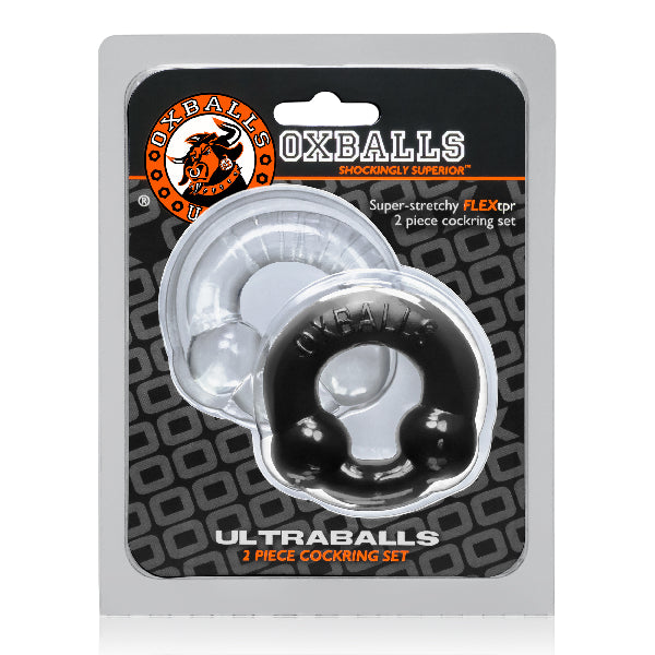 Ultraballs 2 Pack Cockring Black And Clear