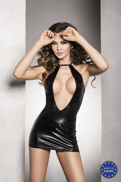 Mini Dress Femi Wet Look Open Bust Black