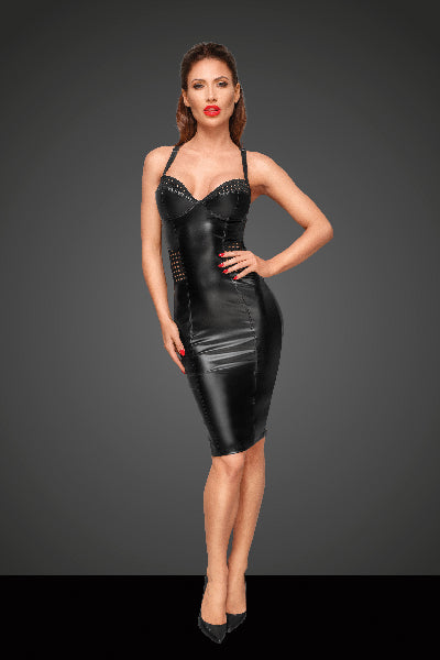 Power Wetlook Dress With Chequered Tape
