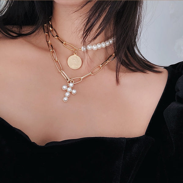 Simulated Pearl Short Choker Necklaces Gold Color Cross Multilayer Chain