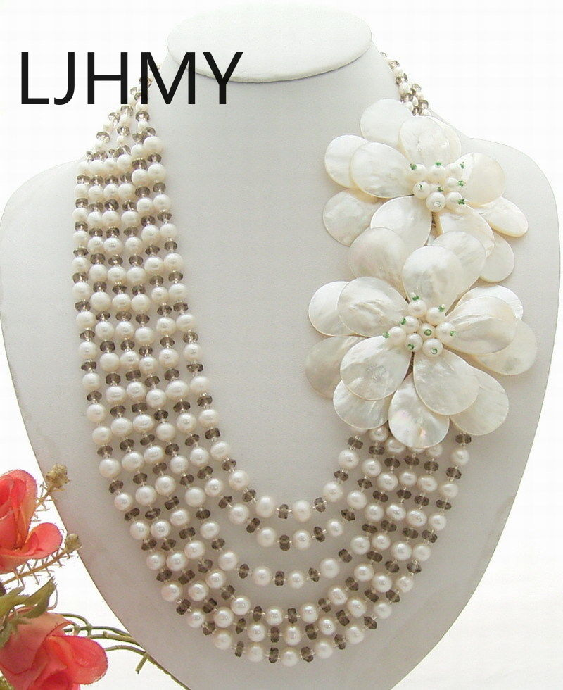 White Pearl Crystal Shell Flower Statement Necklace
