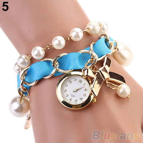 Women Watches Pearl Bowknot Decoration Leather Band Analog Quartz Bracelet Wrist Watch