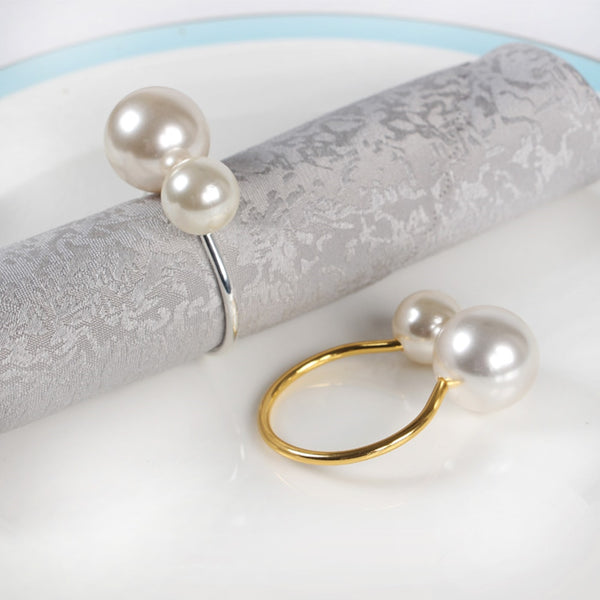 20pcs/lot simple napkin ring metal with large pearl