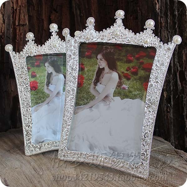 7inch photo frame pearl crown glass picture frame