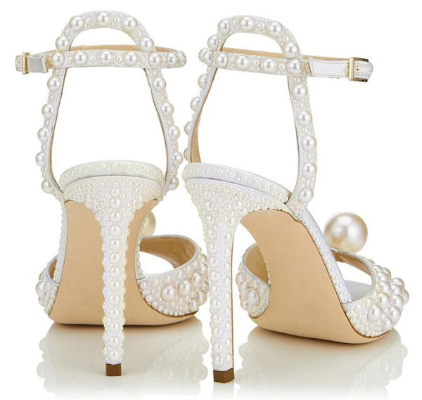 Sexy Peep Toe High Heel Sandal Summer White Pearls Beaded Shoes Ankle Strap Gladiator Shoes