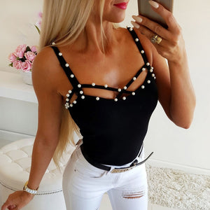 Tees Top WomenCasual Pearl Beading Tops Spaghetti Strap