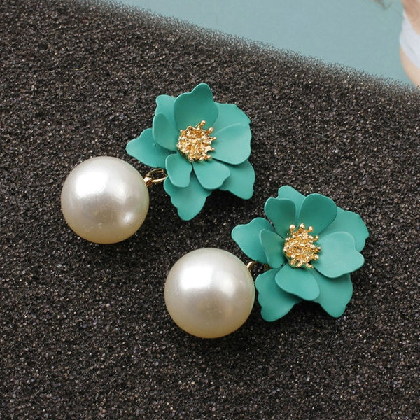 Pearl Drop Dangle Earrings paint Flower Enamel
