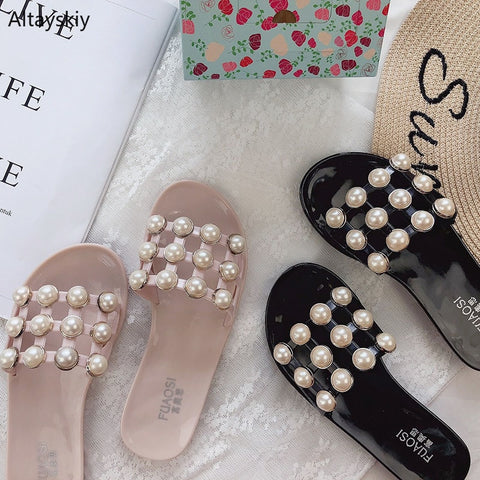 Slippers Women  Leisure  Pearl Slides