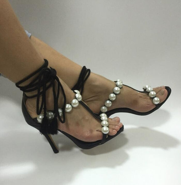 Pearl Decor  Cut-out Ankle Lace-up Ladies Shoes Ankle Wrap Thin Heels Sandal