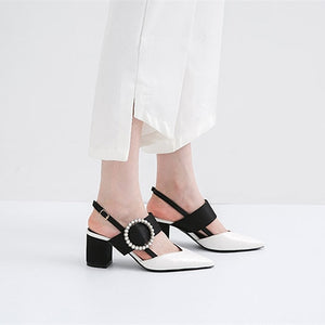 Pearl Slingback White Thick  Pointed Toe Mary Janes Women Shoes Sandals