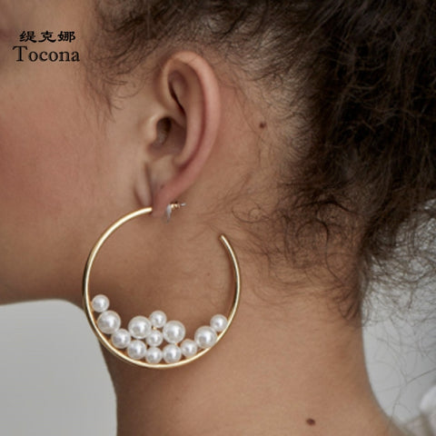 Earrings Simple Round with pearls