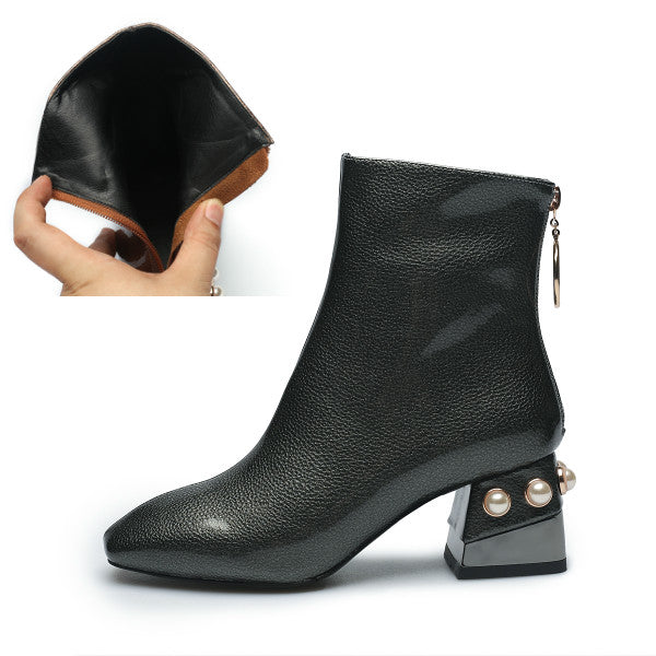 Women's Shoes with Zipper Pearl Beaded Heel boots