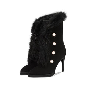 decorative fashion mid calf suede boots with pearls