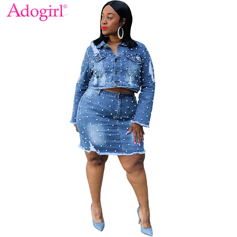 Plus Size Women Pearls Jeans Two Piece Set Dress Washed Holes Long Sleeve Short Jacket