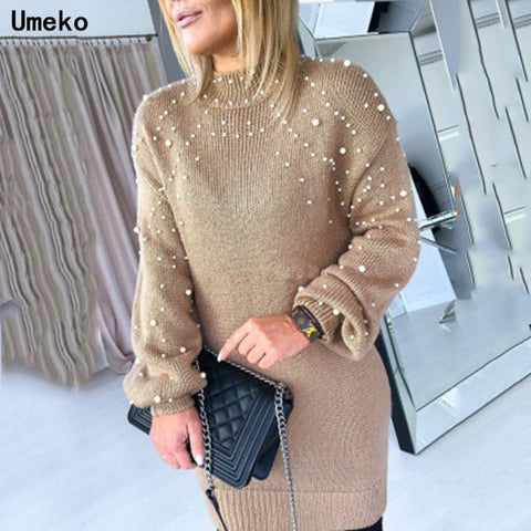 Pearl Sweater dress Knitted Half-high Collar
