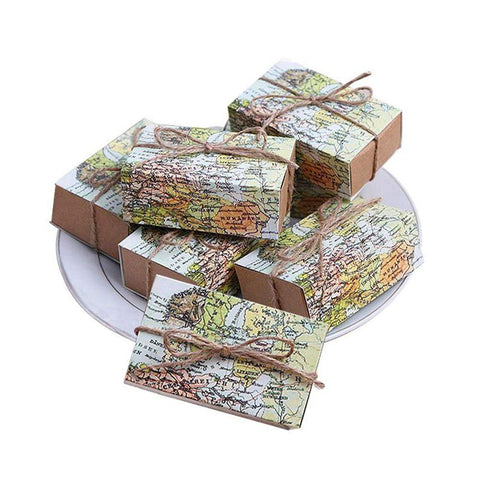 50 Pcs Around the World Map Favor Boxes