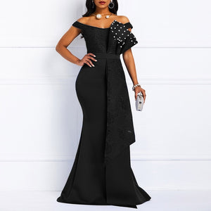 Plus Size Sexy Bodycon Party Dress Long Women Elegant with pearls