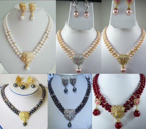 pearl necklace with  earring sets