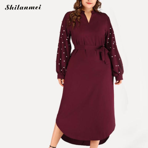 Plus Size Womens Long Dress 3xl-6xl Long  Sleeve Belted Dresses with Pearls