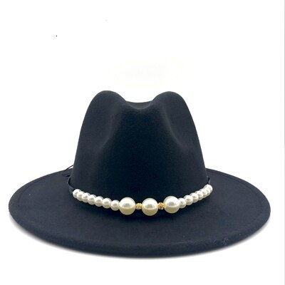 Wool Fedora Hat With pearl Ribbon Wide Brim