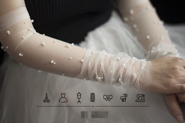 Gorgeous Fingerless Gloves Tulle Sparkly Pearls Beads Long