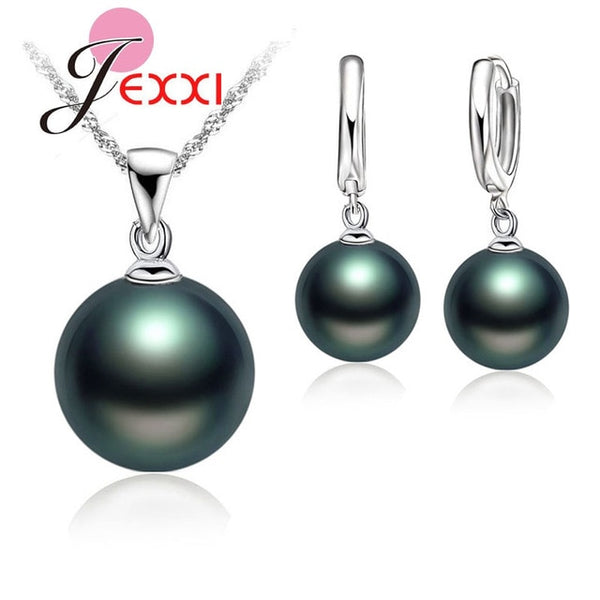 Delicate Pearl 925 Sterling Silver Jewelry Sets Drop Earrings Necklace